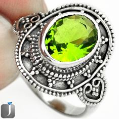 3.11cts GREEN PARROT QUARTZ 925 STERLING SILVER RING JEWELRY SIZE 7 F15172