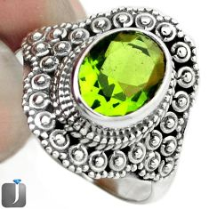 3.29cts GREEN PARROT QUARTZ 925 STERLING SILVER RING JEWELRY SIZE 7.5 F15175