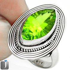 8.28cts GREEN PARROT QUARTZ 925 STERLING SILVER RING JEWELRY SIZE 7 F18835