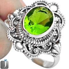 3.26cts GREEN PARROT QUARTZ 925 STERLING SILVER RING JEWELRY SIZE 9 F19175