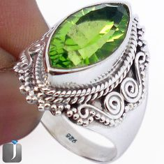 9.94cts GREEN PARROT QUARTZ 925 STERLING SILVER RING JEWELRY SIZE 8.5 F22107