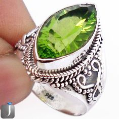 8.50cts GREEN PARROT QUARTZ 925 STERLING SILVER RING JEWELRY SIZE 8 F22108