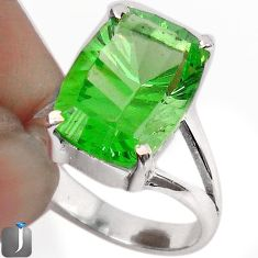 9.09cts GREEN PARROT QUARTZ 925 STERLING SILVER RING JEWELRY SIZE 7 F23679