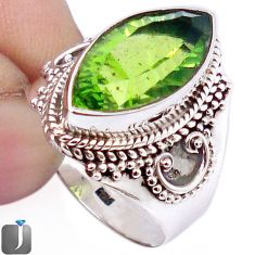 9.76cts GREEN PARROT QUARTZ 925 STERLING SILVER RING JEWELRY SIZE 7.5 F26108