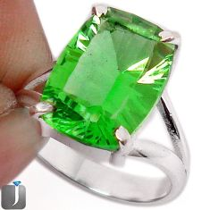 6.33cts GREEN PARROT QUARTZ 925 STERLING SILVER RING JEWELRY SIZE 8 F27670