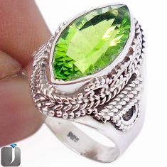 9.94cts GREEN PARROT QUARTZ 925 STERLING SILVER RING JEWELRY SIZE 7.5 F30105