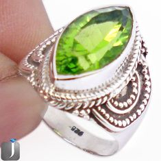 9.58cts GREEN PARROT QUARTZ 925 STERLING SILVER RING JEWELRY SIZE 6.5 F30106