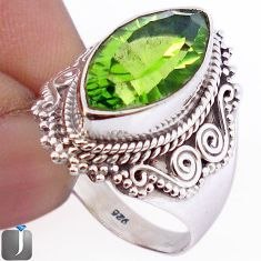 10.33cts GREEN PARROT QUARTZ 925 STERLING SILVER RING JEWELRY SIZE 8 F30107