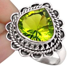 5.36cts GREEN PARROT QUARTZ 925 STERLING SILVER RING JEWELRY SIZE 8 F67826