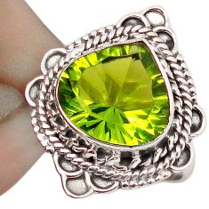 5.09cts GREEN PARROT QUARTZ 925 STERLING SILVER RING JEWELRY SIZE 6.5 F67835