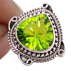 5.36cts GREEN PARROT QUARTZ 925 STERLING SILVER RING JEWELRY SIZE 7.5 F67854