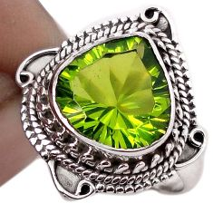 5.30cts GREEN PARROT QUARTZ 925 STERLING SILVER RING JEWELRY SIZE 7.5 F67858