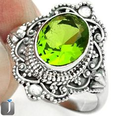 3.79cts GREEN PARROT QUARTZ 925 STERLING SILVER RING JEWELRY SIZE 8.5 F7446
