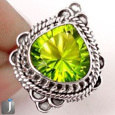 5.38cts GREEN PARROT QUARTZ 925 STERLING SILVER RING JEWELRY SIZE 7 F81383