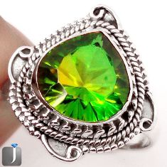 5.80cts GREEN PARROT QUARTZ 925 STERLING SILVER RING JEWELRY SIZE 9 F81388
