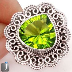 5.63cts GREEN PARROT QUARTZ 925 STERLING SILVER RING JEWELRY SIZE 7 F85385