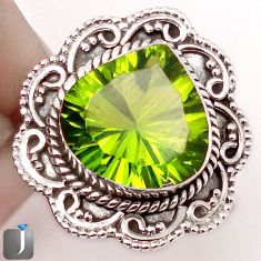 5.36cts GREEN PARROT QUARTZ 925 STERLING SILVER RING JEWELRY SIZE 8.5 F85388