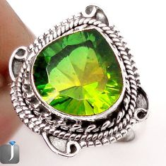 5.32cts GREEN PARROT QUARTZ 925 STERLING SILVER RING JEWELRY SIZE 7.5 F89393