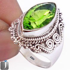 GREEN PARROT QUARTZ MARQUISE 925 STERLING SILVER RING JEWELRY SIZE 7 F63530