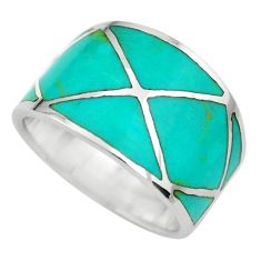 4.89gms green turquoise enamel 925 sterling silver ring size 6 c2535