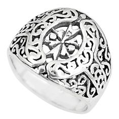 5.26gms indonesian bali style solid 925 plain silver ring size 6.5 c3630