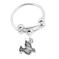 3.26gms indonesian bali style solid 925 silver bird charm ring size 7 c3059