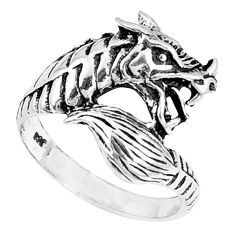 4.69gms indonesian bali style solid 925 silver dragon charm ring size 5.5 c3631