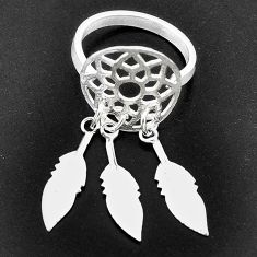2.69gms indonesian bali style solid 925 silver dreamcatcher ring size 5.5 c4181