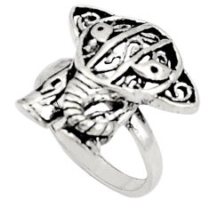 5.69gms indonesian bali style solid 925 silver elephant ring size 7.5 c5251