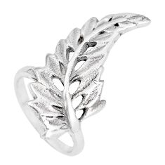 5.48gms indonesian bali style solid 925 silver feather charm ring size 5.5 c3622