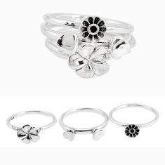 6.35gms indonesian bali style solid 925 silver flower 3 rings size 7.5 p48602