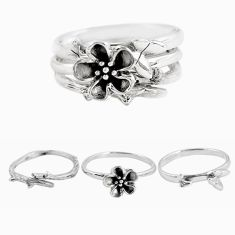 6.35gms indonesian bali style solid 925 silver flower 3 rings size 6 p48610