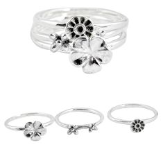 5.41gms indonesian bali style solid 925 silver flower 3 rings size 6.5 p48614