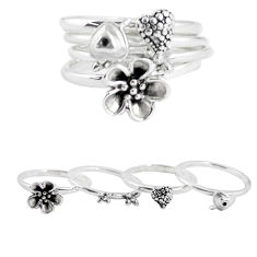8.88gms indonesian bali style solid 925 silver flower 3 rings size 7 p48615