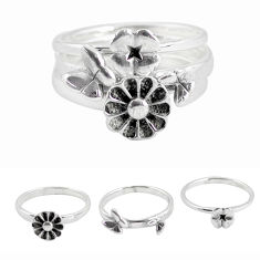 5.99gms indonesian bali style solid 925 silver flower 3 rings size 7.5 p48625