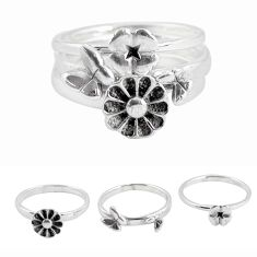 5.02gms indonesian bali style solid 925 silver flower 3 rings size 6.5 p48629