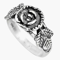 4.69gms indonesian bali style solid 925 silver flower ring size 7.5 c5243
