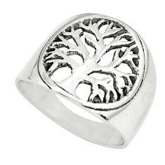 6.26gms indonesian bali style solid 925 silver tree of life ring size 8.5 c3565