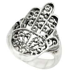 4.02gms indonesian bali style solid silver hand of god hamsa ring size 7.5 c5253