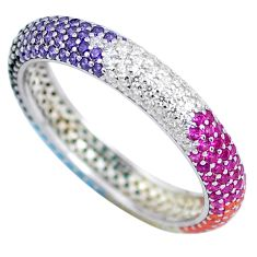 1.34cts infinity band amethyst turquoise 925 sterling silver ring size 7 c3303