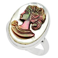 12.05cts lady face natural titanium cameo on shell 925 silver ring size 7 p80106