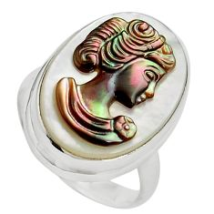 11.74cts lady face natural titanium cameo on shell 925 silver ring size 6 p80107