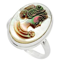 12.62cts lady face natural titanium cameo on shell 925 silver ring size 9 p80109