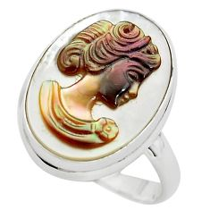 11.74cts lady face natural titanium cameo on shell 925 silver ring size 8 p80110