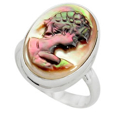 12.58cts lady face natural titanium cameo on shell 925 silver ring size 8 p80115