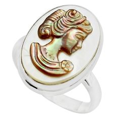 12.07cts lady face natural titanium cameo on shell 925 silver ring size 9 p80117