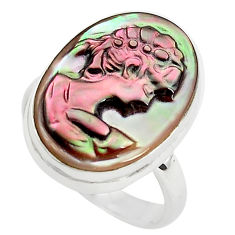 11.26cts lady face natural titanium cameo on shell 925 silver ring size 7 p80125