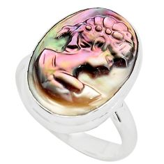 11.26cts lady face natural titanium cameo on shell 925 silver ring size 8 p80128