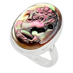 11.26cts lady face natural titanium cameo on shell 925 silver ring size 6 p80131