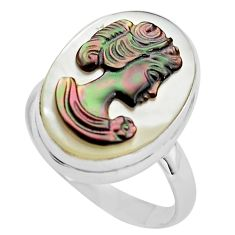 11.74cts lady face natural titanium cameo on shell 925 silver ring size 9 p80137